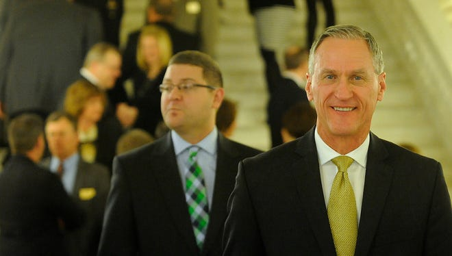 Gov. Dennis Daugaard in the lobby at the state capitol before the State of the State address in Pierre, S.D., Tuesday, Jan. 12, 2016.