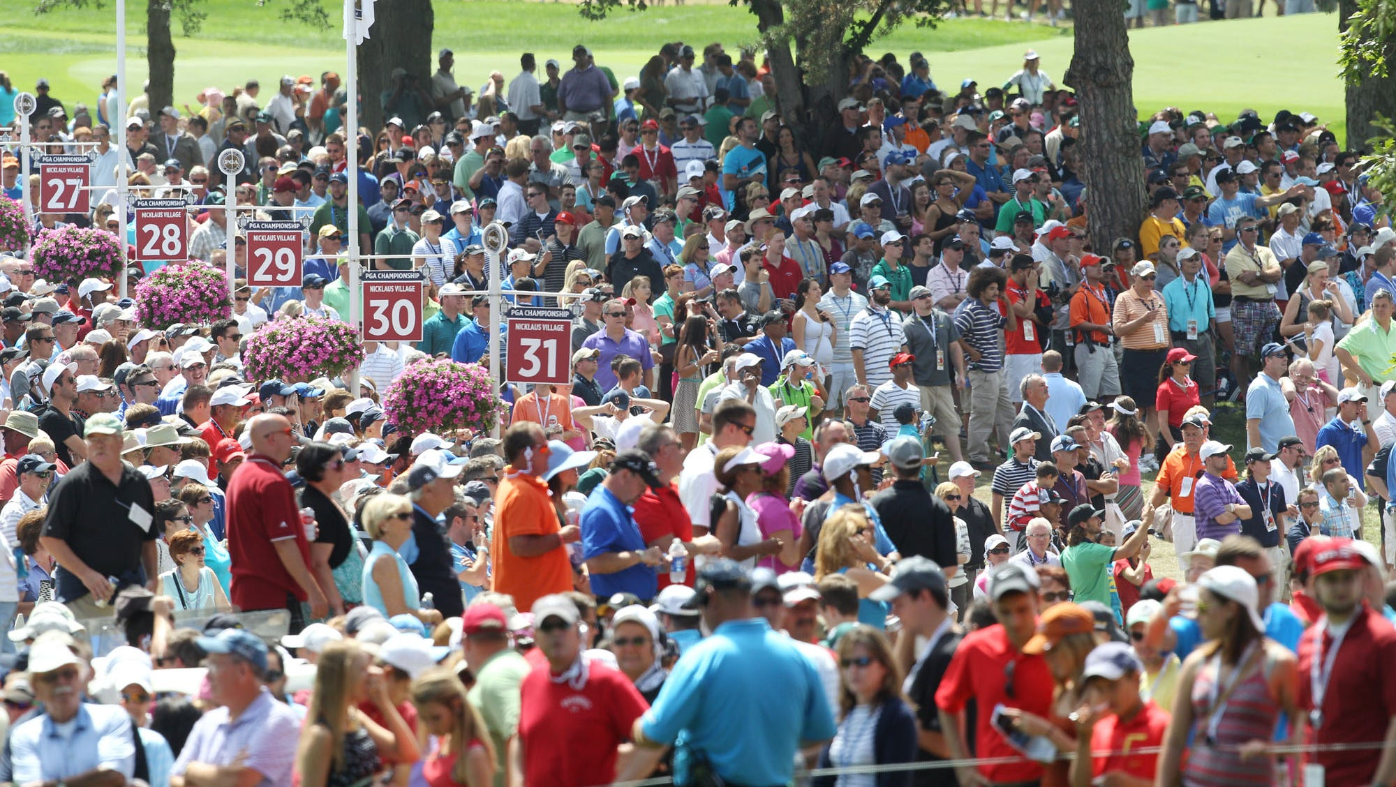 Crowds were huge on the fina day of the PGA Championship at Oak Hill.