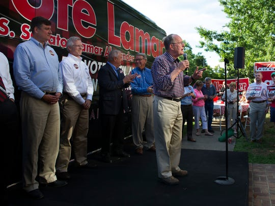 Sen. Lamar Alexander thanks supporters and outlines his campaign points during a rally in front of his campaign headquarters Monday, July 28, 2014, on Music Row in Nashville.