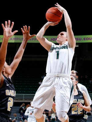Michigan State's Tori Jankoska (1) shoots against Oakland's Nola Anderson, left, Friday, Dec. 2, 2016, in East Lansing, Mich. Jankoska led Michigan State with 37 points in an 81-74 win.