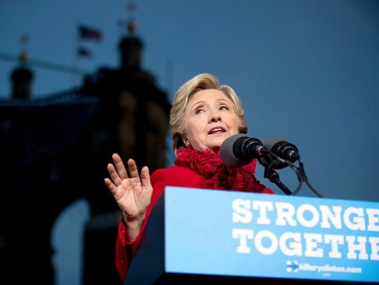 Hillary Clinton speaks at a rally at Smale Riverfront