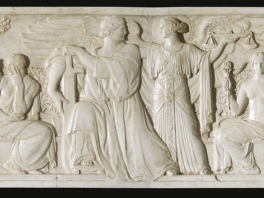 One of four frieze relief models on loan and on display