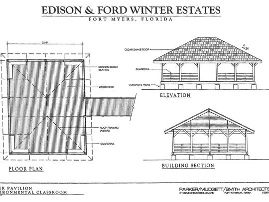 The plans for a new pavilion at the Edison & Ford Winter Estates will closely resemble one at the end of the property's pier.