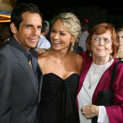 "(FILES) Actor Ben Stiller (L) poses with his wife, actress Christine Taylor (C), and his mother, actress Anne Meara (R) at the premiere of ""The Heartbreak Kid"", in this September 27, 2007, file photo in Los Angeles. Meara, who with her husband formed a popular comedy duo in the 1960s, died May 23, 2015, according to US media. The cause of death was not immediately known. Meara was 85.   AFP PHOTO/GABRIEL BOUYSGABRIEL BOUYS/AFP/Getty Images ORIG FILE ID: 541033178"