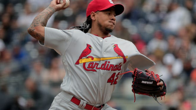St. Louis Cardinals pitcher Carlos Martinez delivers against the New York Yankees during the first inning of a baseball game, Saturday, April 15, 2017, in New York.