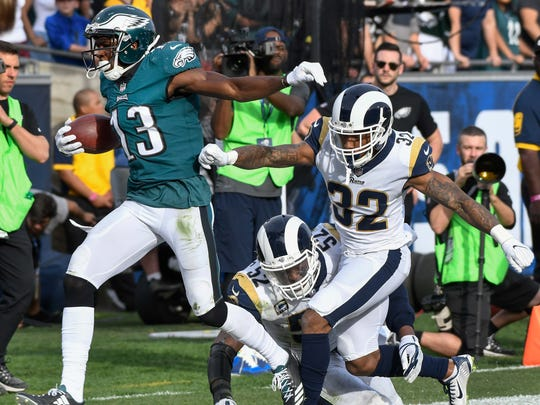 Nelson Agholor is coming off a career-best season in 2017, when he had 62 catches for 768 yards and 8 TDs.