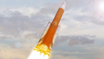 An artist rendering of NASA's Space Launch System launching into the clouds.
