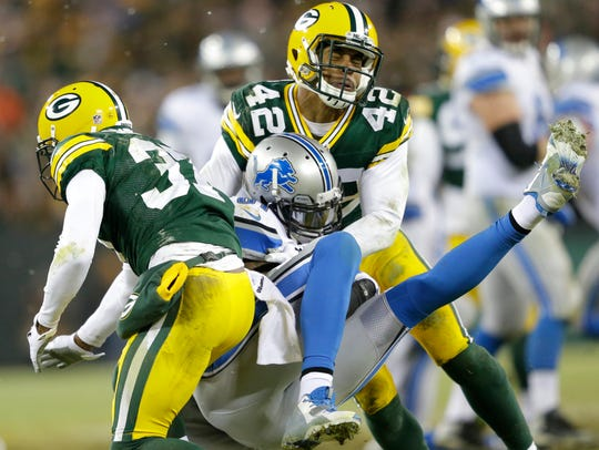 Green Bay Packers cornerback Sam Shields, left, and