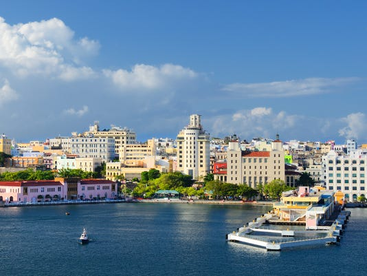 A cityscape of San Juan from the harbor