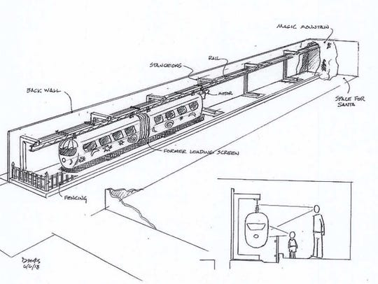 A sketch of the proposed monorail display at the New