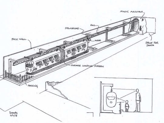 A sketch of the proposed monorail display at the New York Museum of Transportation in Rush.