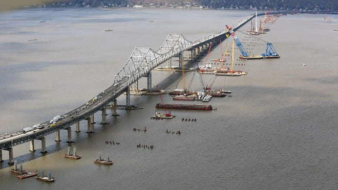 A worker on the Tappan Zee Bridge project was burned this week while filling a construction boat with gasoline.