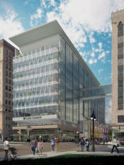 Rendering shows the future Little Caesars headquarters center that will rise near the Fox Theatre.
