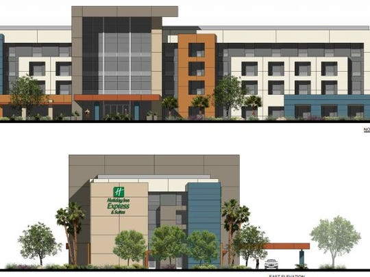 Architectural rendering of a Holiday Inn Express & Suites to be built on Technology Drive in Palm Desert, designed by Prest-Vuksic Architects.