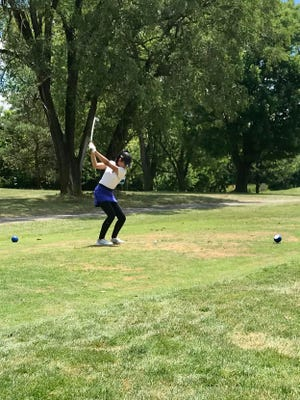 Pleasant's Dina Shah tees off during the second day of play at the Ohio Junior Girls Championship at Marion Country Club Tuesday afternoon.