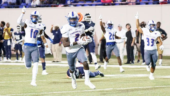 Patrick Smith scored what proved to be the winning touchdown on a 56-yard punt return in Tennessee State's 17-15 win Saturday over Jackson State in Memphis.