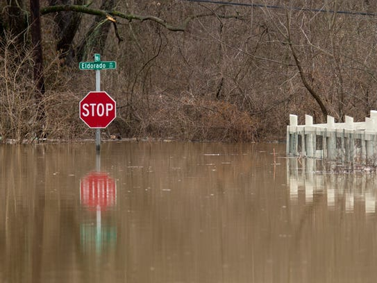 Many roads are closed due to flooding of the Ohio River