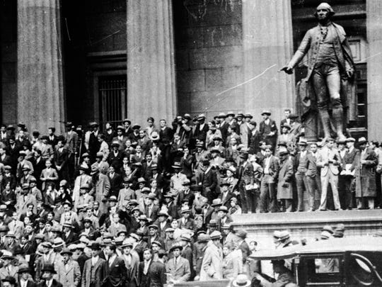 "The ""Roaring Twenties"" come to a halt on Black Tuesday in October 1929, when stocks take a nosedive, contributing to the Great Depression."