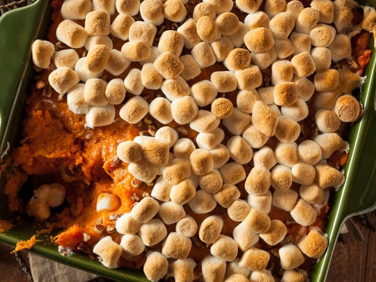 Sweet potato casserole with toasted marshmallows topping
