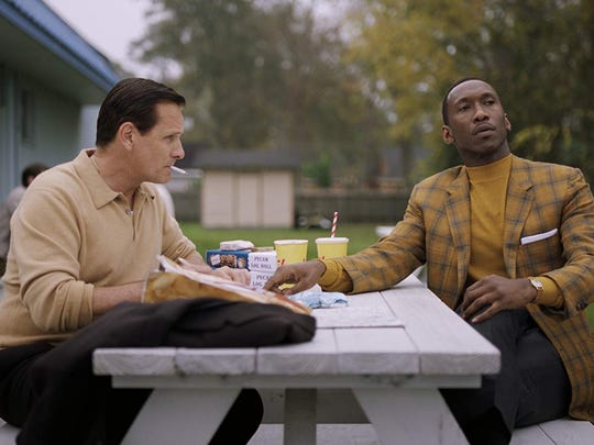 "Viggo Mortenson, left, and Mahershala Ali in ""Green Book."""