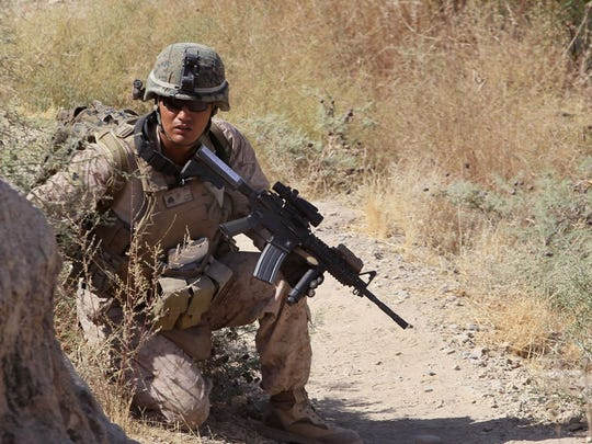 A U.S. soldier on patrol in Afghanistan.