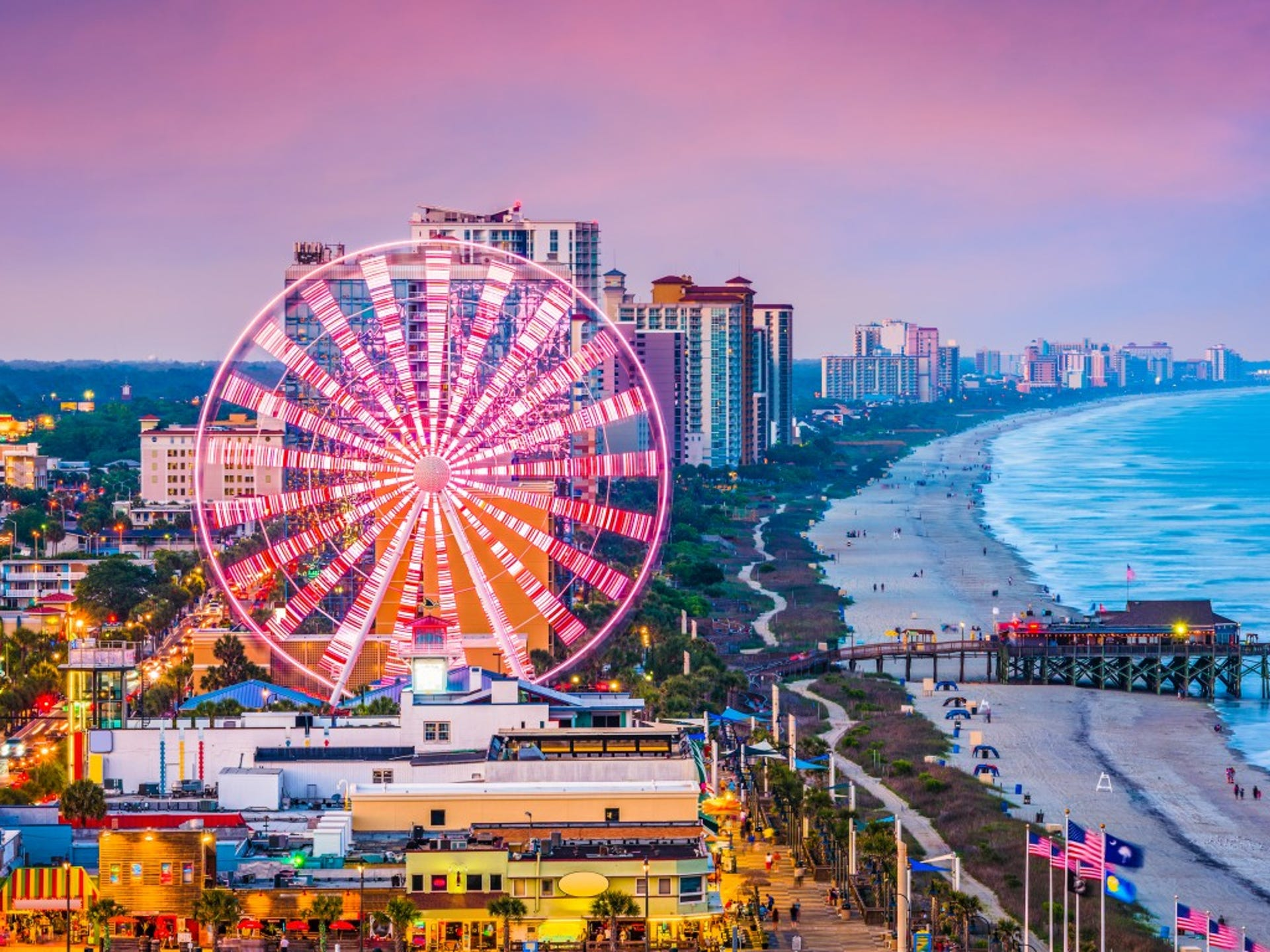 13. Myrtle Beach, SC     • Total properties at risk of hurricane damage:  131,083     • Reconstruction cost value of properties:  $24.4 billion     • Metro area population:  480,891     • Recent severe hurricane:  Hugo (1989) With its 60 miles of coastline, South Carolina's Myrtle Beach is a well-known vacation destination. Its location, however, also makes it vulnerable to dangerous, ocean-borne weather events. Recent hurricanes that have hit the Myrtle Beach area include Matthew in 2016, Charley in 2004, and Floyd in 1999.