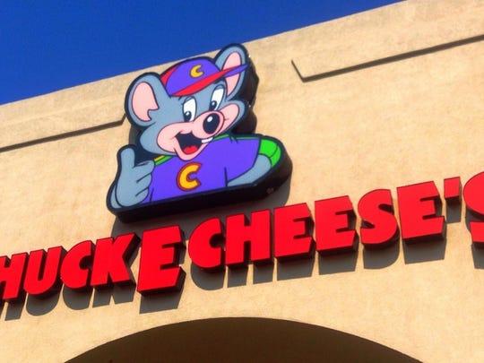 Outside a Chuck E. Cheese location.