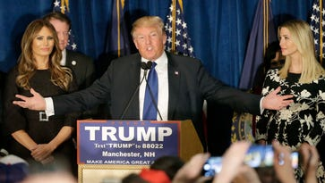 Donald Trump speaks to supporters during a primary night rally on Feb. 9, 2016, in Manchester, N.H.