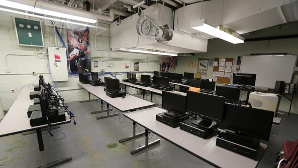 A computer room in the basement  at Gorton High School