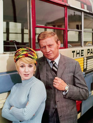 """Shirley Jones, left, and Dave Madden on 'The Partridge Family,"""" circa 1970s."""