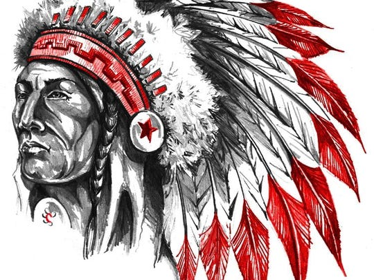 "A logo from Chowchilla High School in Madera. The school is one of four schools that use the mascot name ""Redskins."""