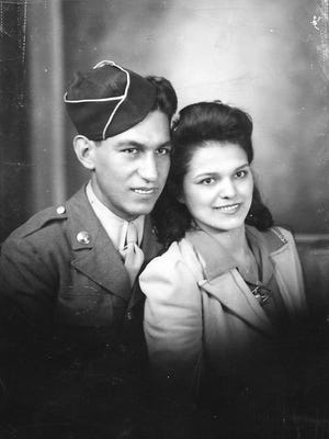 Family Photo of Manuel Mendoza and his wife Alice in 1942 taken in San Antonio, TX.  They were married on August 30, 1942, he was drafted into WWII two months later.  Mendoza will posthumously receive the Medal of Honor from President Obama on March 18, 2014.  Alice will accept it on his behalf.