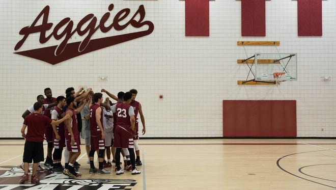 New Mexico State University mens basketball team, during practice. Wednesday July 26, 2017.