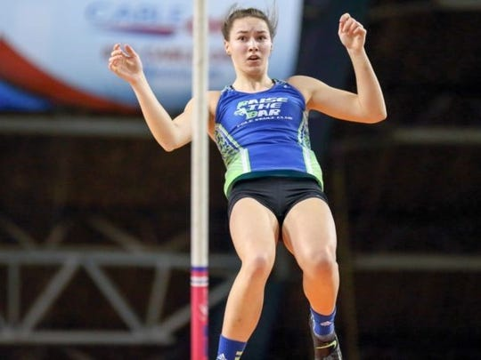 Makayla Linebarger owns the state record for the pole vault in Nevada, 13 feet, 6 inches. She is shown clearing 13-5 at the Simplot Games, in Pocatello, Idaho.
