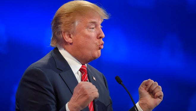 Donald Trump makes a point during the CNBC Republican debate on Oct. 28, 2015, in Boulder, Colo.