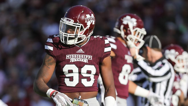Mississippi State defensive back Jamal Peters (99) wears the jersey of Keith Joseph Jr., who was killed in a car wreck last week.