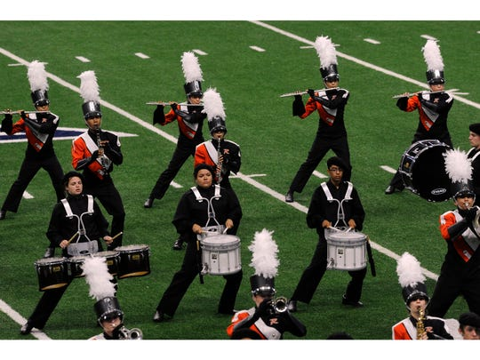 The Rotan High School Yellowhammer Band performs during the Class 1A Preliminary Round of the UIL State Marching Band Championships on Nov. 6, 2017 at the Alamodome in San Antonio. Rotan has qualified for the 2019 contest this week.