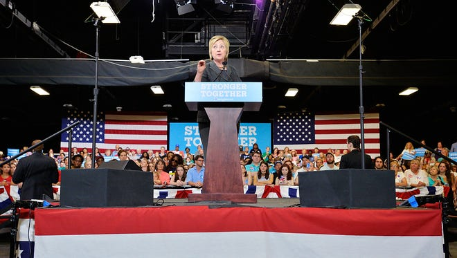 Hillary Clinton speaks during a campaign event at the North Carolina State Fairgrounds on June 22, 2016, in Raleigh, N.C.