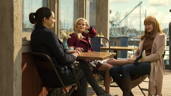 Longtime friends Madeline (Reese Witherspoon), center, and Celeste (Nicole Kidman), right, bond with new Monterey mom Jane (Shailene Woodley), in HBO's 'Big Little Lies.'