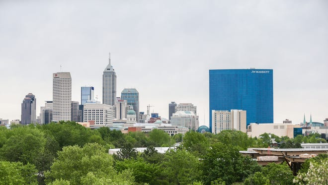A view of the Downtown Indianapolis skyline, as seen from the Indianapolis Zoo on May 3, 2017.