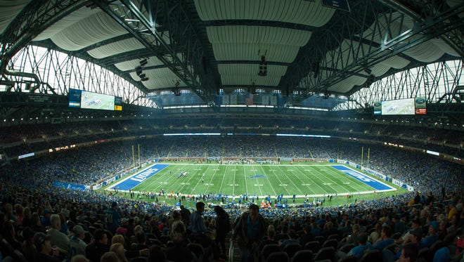 A general view of Ford Field during the game between the Detroit Lions and the Los Angeles Rams.