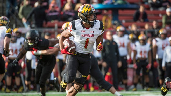 Nov 4, 2017; Piscataway,, NJ, USA; Maryland Terrapins wide receiver DJ Moore (1) runs with the ball against the Rutgers Scarlet Knights during the first half at High Point Solutions Stadium.