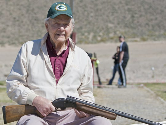 Dan Orlich, a member of the University of Nevada Athletic Hall of Fame and the International Trapshooting Hall of Fame, and former Green Bay Packers player, died Jan. 18 in Reno, Nevada, at age 94.  He is shown at age 90.