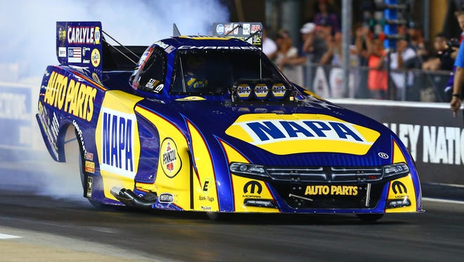 NHRA funny car driver Ron Capps during qualifying for the Thunder Valley Nationals at Bristol Dragway.