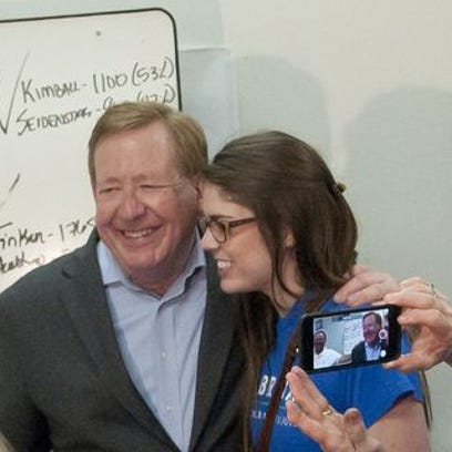 Incumbent Carmel mayor Jim Brainard and his daughter