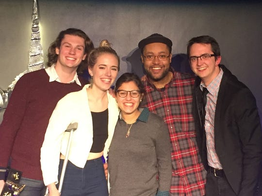 Left to right, comedians Kendall Farrell, Anya Volz, Sami Schwaeber, Mike Thomas and Tim Bridge will perform Friday