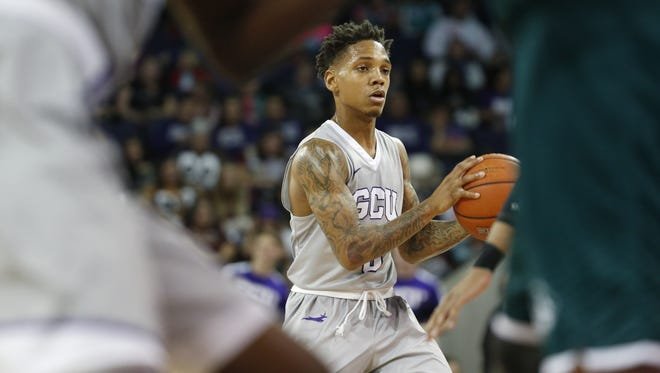 GCU's DeWayne Russell (0) dribbles up court in the second half against Utah Valley at Grand Canyon University on January 7, 2017 in Phoenix, Ariz.