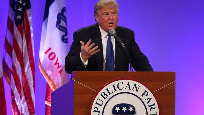 Donald Trump speaks on Saturday, May 16, 2015, during the 2015 Lincoln Dinner in Des Moines, Iowa.