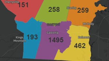 Number of COVID-19 cases in Gaston County divided by six townships.