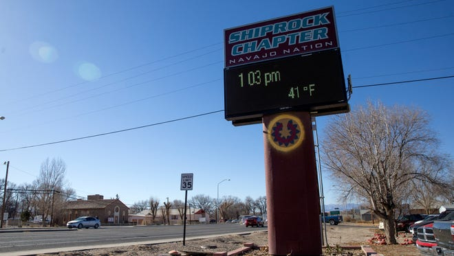 The temperature on the Shiprock Chapter's sign reads 41 degrees on Friday afternoon under a clear sky. The National Weather Service says there is little chance of a white Christmas this year in San Juan County.
